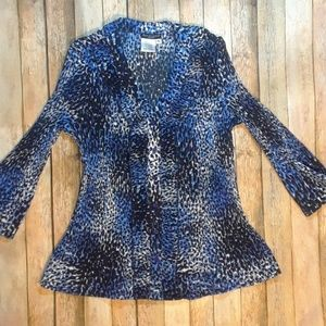 Bay Studio Blue & Black Leopard Print Button Front